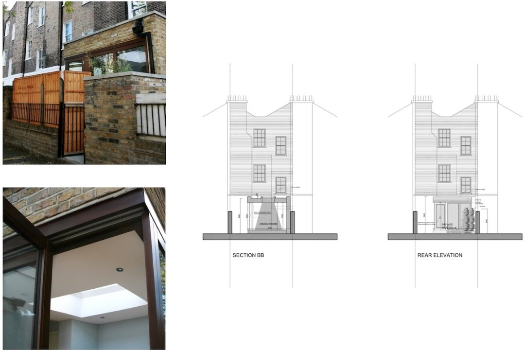 Kings Cross Camden NW1 House extension Design rear elevation and section 1200x800 King's Cross, Camden NW1 | House extension