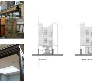 Kings Cross Camden NW1 House extension Design rear elevation and section 300x266 King's Cross, Camden NW1 | House extension
