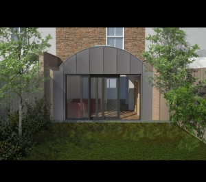 Angel Islington N1 Listed House rear extension – 3D Rear elevation 300x266 Angel Islington N1 | Listed house rear extension