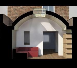 Angel Islington N1 Listed House rear extension – 3D Section 300x266 Angel, Islington N1 | Listed house rear extension