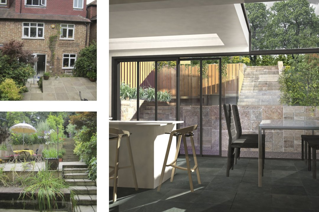 Architect designed rear house extension Highgate Haringey N6 – 3D internal view to garden 1200x800 Highgate, Haringey N6 | Rear house extension
