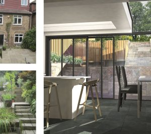 Architect designed rear house extension Highgate Haringey N6 – 3D internal view to garden 300x266 Highgate, Haringey N6 | Rear house extension
