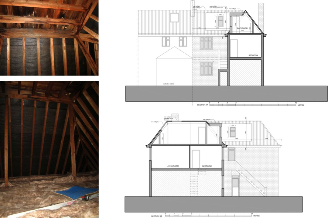 Architect designed roof flat extension Chiswick Hounslow W4 Sections 1200x800 Chiswick, Hounslow W4 | Roof extension to a flat