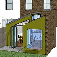 Barnes Richmond SW14 – Rear house kitchen extension – 3D Rear elevation 200x200 Richmond residential architect projects