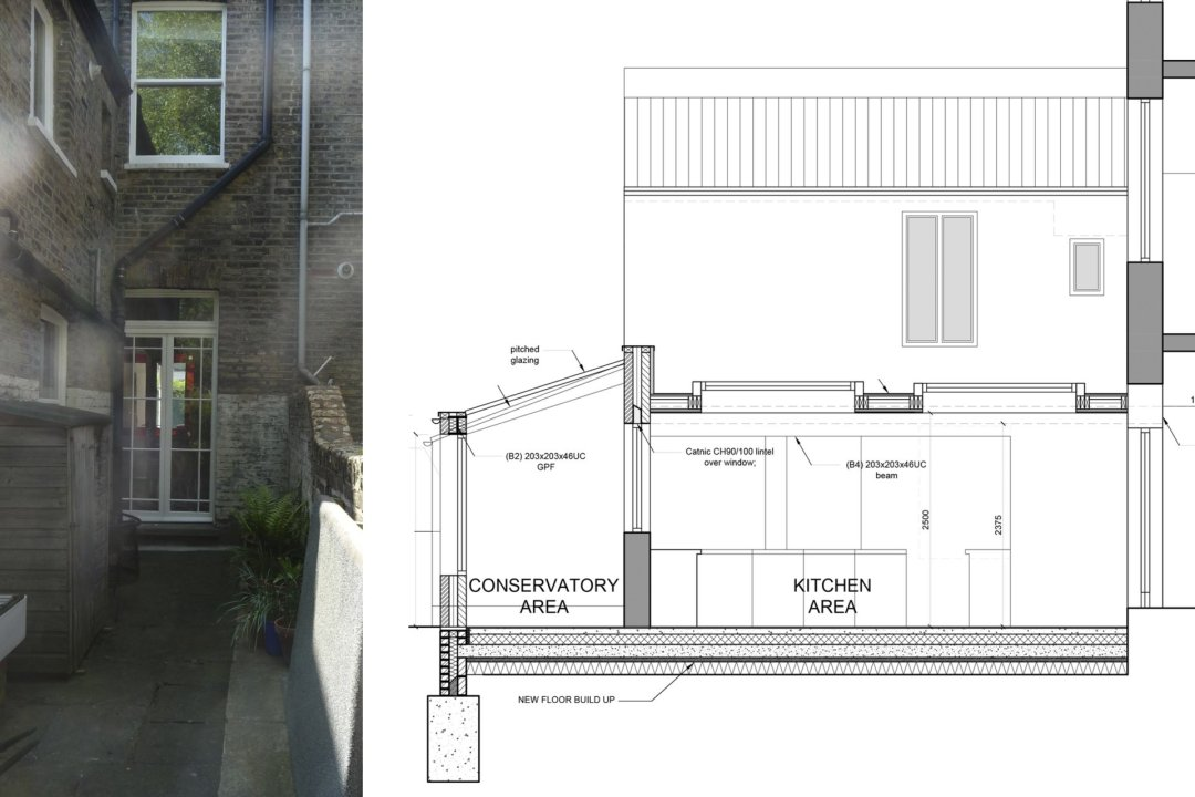 Architect designed kitchen and roof house extension Arsenal Islington N5 Section 1 1200x800 Arsenal, Islington N5 | Kitchen and roof house extension
