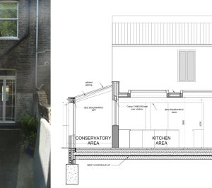 Architect designed kitchen and roof house extension Arsenal Islington N5 Section 1 300x266 Arsenal, Islington N5 | Kitchen and roof house extension