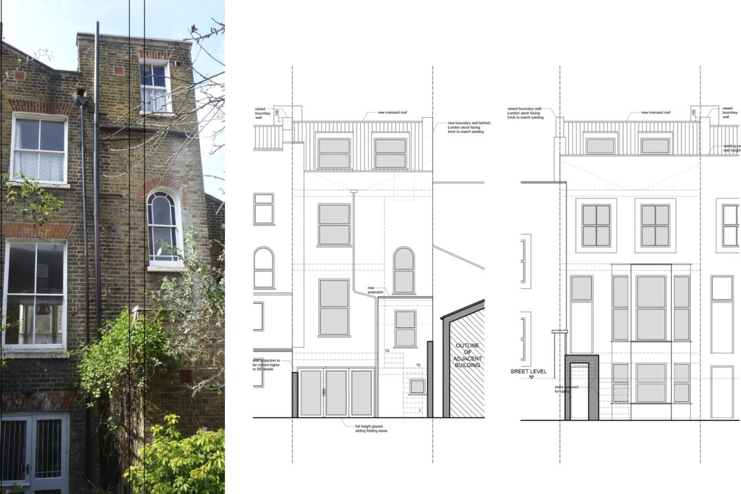 Architect designed mansard roof extension Finsbury Park Islington N7 Elevations 1 1200x800 Finsbury Park, Islington N7 | Mansard roof extension