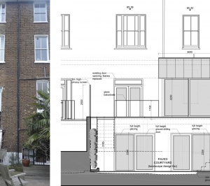 Architect designed rear house extension Tufnell Park Camden NW5 Rear elevation 300x266 Tufnell Park, Camden NW5 | Rear house extension