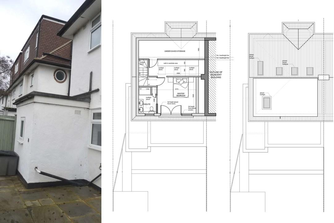 Architect designed roof and kitchen house extension Kingston KT2 Upper floor plans 1 1200x800 Kingston KT2 | Roof and kitchen house extension