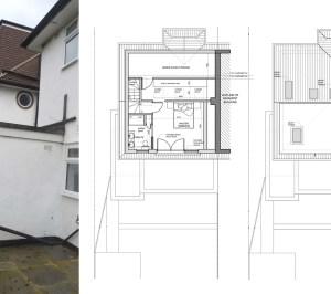 Architect designed roof and kitchen house extension Kingston KT2 Upper floor plans 1 300x266 Kingston KT2 | Roof and kitchen house extension