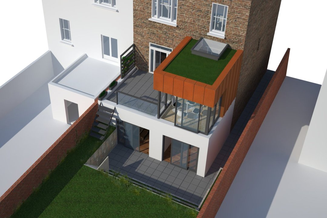 Architect designed rear house extension Tufnell Park Camden NW5 3D Arial view 1200x800 Tufnell Park, Camden NW5 | Rear house extension
