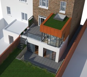 Architect designed rear house extension Tufnell Park Camden NW5 3D Arial view 300x266 Tufnell Park, Camden NW5 | Rear house extension