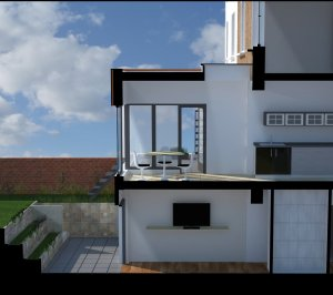 Architect designed rear house extension Tufnell Park Camden NW5 3D Section AA 300x266 Tufnell Park, Camden NW5 | Rear house extension