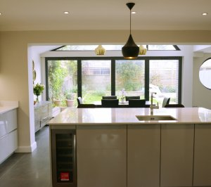 Architect designed roof and kitchen house extension Kingston KT2 View to the garden 300x266 Kingston KT2 | Roof and kitchen house extension