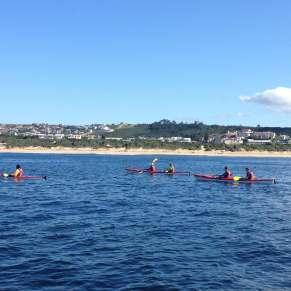 Volunteers kayaking