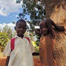 Kids posing for a photo in Kenya