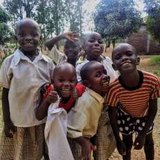 Kids posing for photo in Kenya