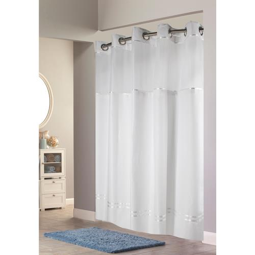 escape hookless fabric shower curtain with chrome rings and snap in liner white