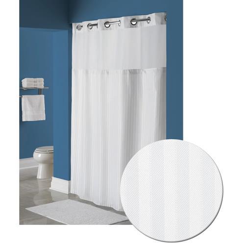 recycled pet herringbone shower curtain white