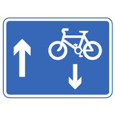 contraflow blue sign