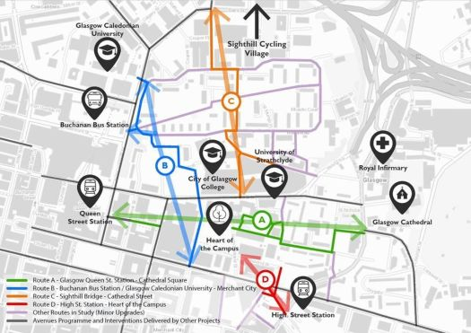 Map of proposed active travel routes to north-east of George Square
