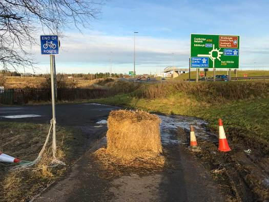Hay bale filter on shared path at Raith Interchange