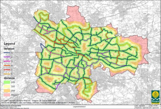 Map of proposed Glasgow City Network map with colours to show iterations and distance to cycle routes