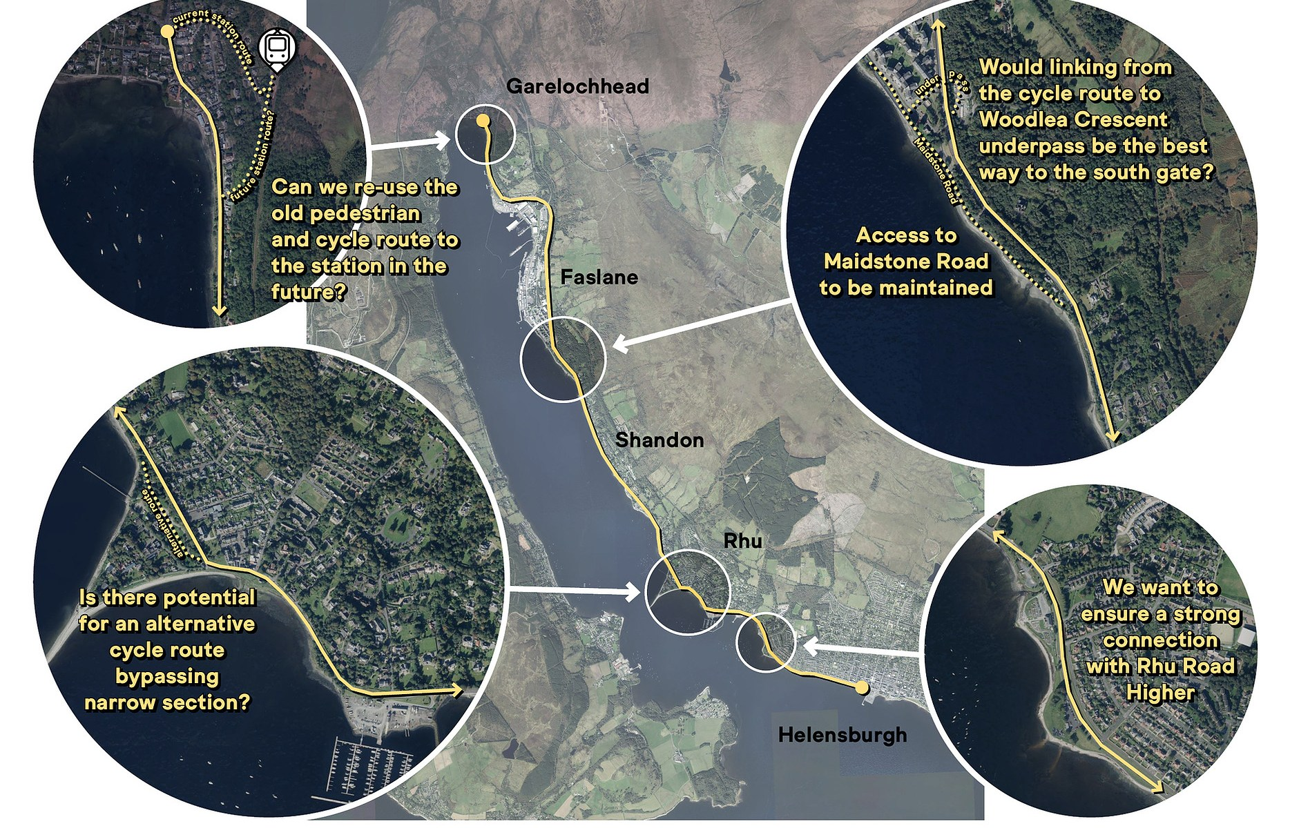sections on Helensburgh to Garelochhead active travel route