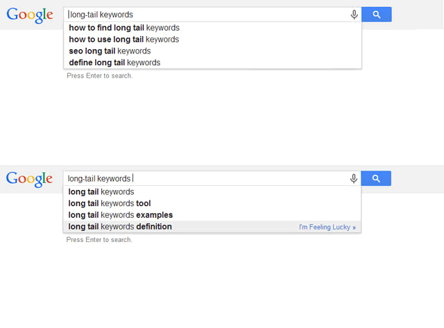 Long tail keyword research Google-suggestions