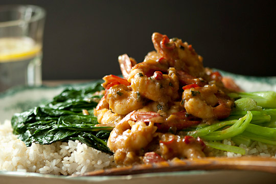 spicy spot prawns with tah tsai