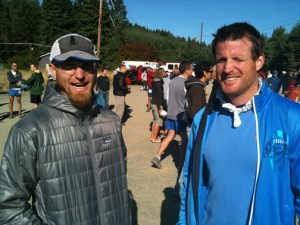 "Hangin' with Mike Adams before the start, talking...(as my wife would say)...""surprise!"" Photo: Matt Hart, EnduranceCoaching.com"
