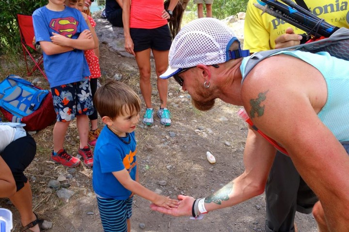 Ouray. Giving my 3-year old son five before I took off. Photo by iRunFar.com