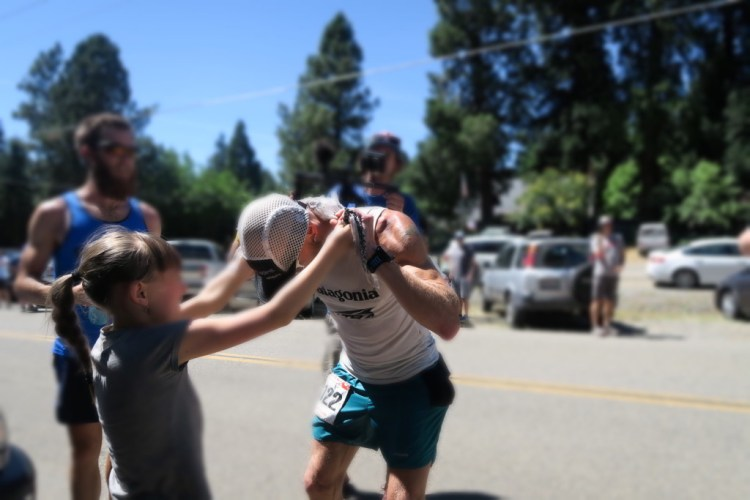 Cooling off with an ice bandana from my daughter at Foresthill. Photo by Benjamin Browning.