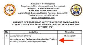 BFP Recruitment 2020