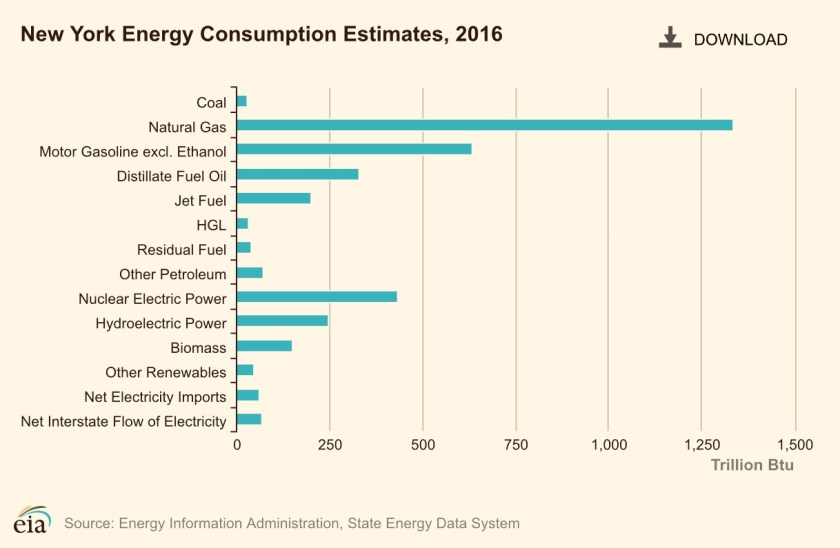 Bar chart showing NY State energy consumption