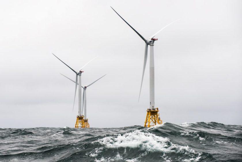 Photo of Block Island wind turbines in heavy seas