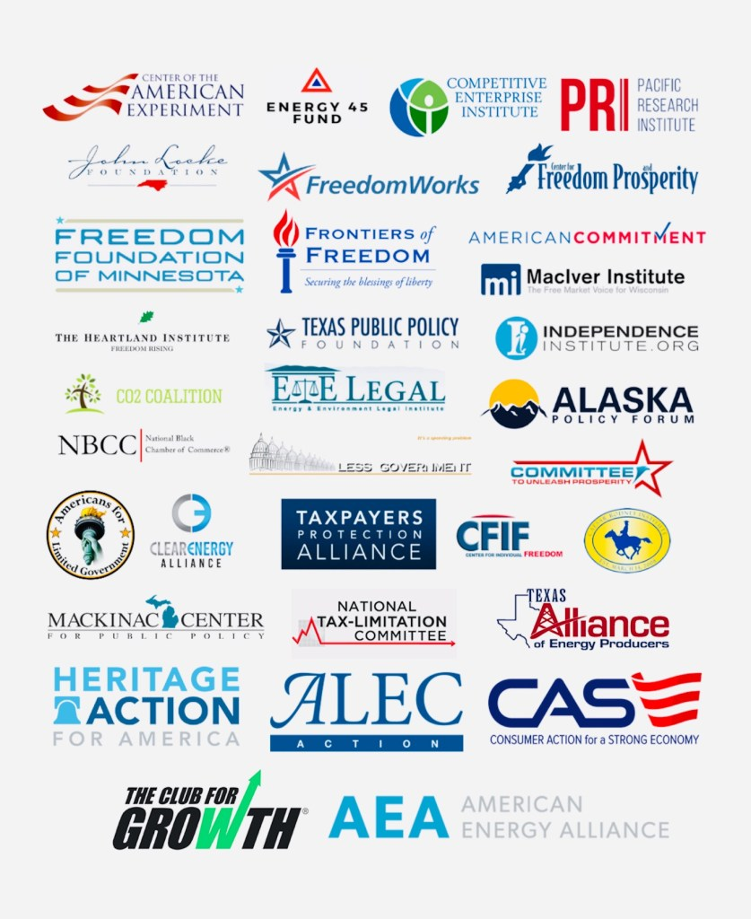 Image of 34 fossil fuel funded, free market advocacy groups logos