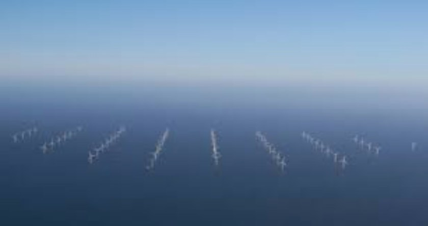 Aerial photo of Wind Farm, North Sea UK