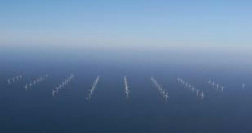Aerial photo of Wind Farm, North Sea UK