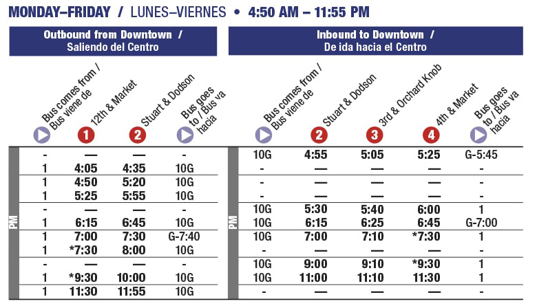 Rt 10 Avondale Mon-Fri schedule