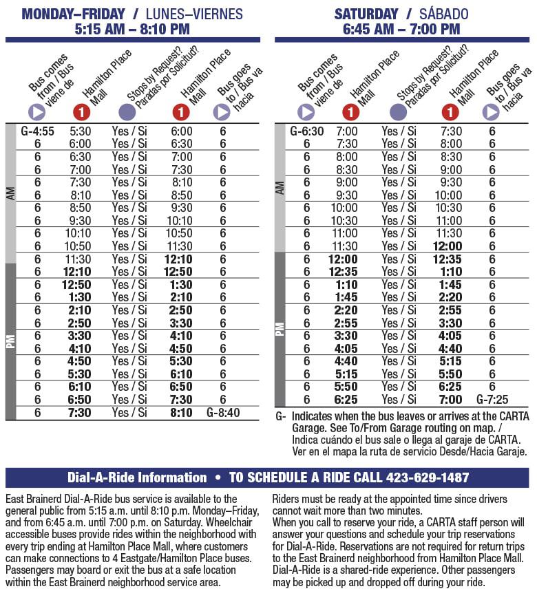 Rt 6 East Brainerd schedule