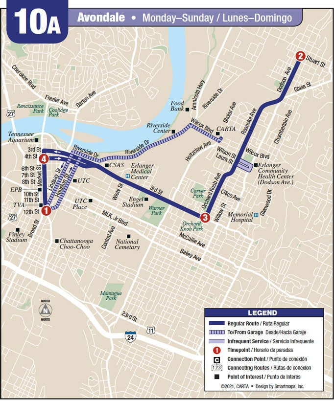 Route 10A map