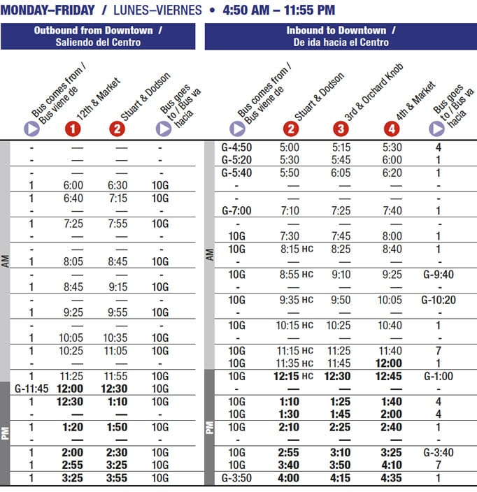 Route 10A timetable