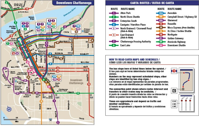 Downtown map and key