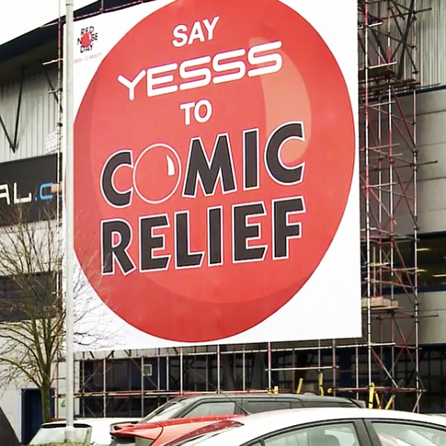 UK's biggest Red Nose banner we installed for @wellpleased and @YESSS_UK1 has received plenty of press