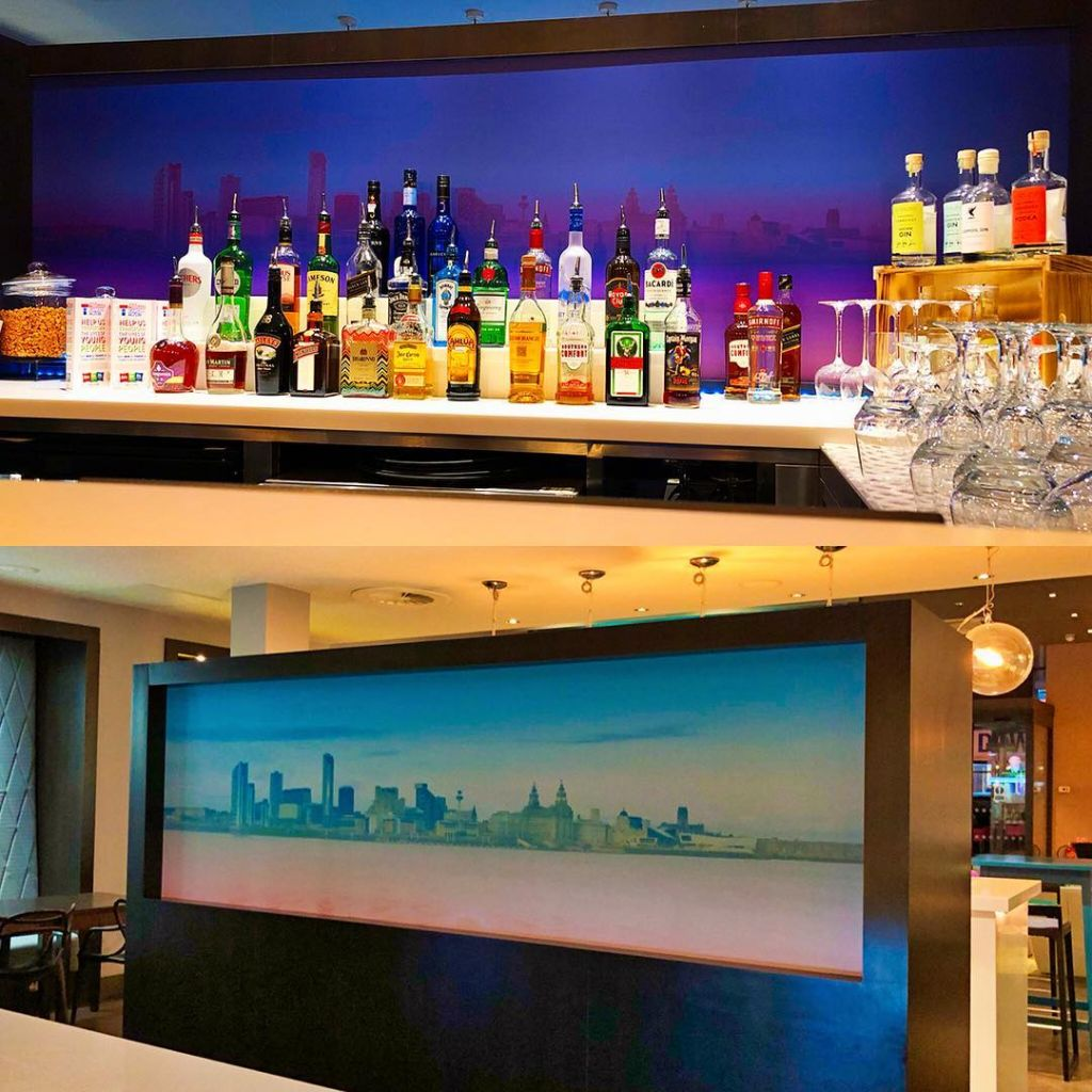 Liverpool Skyline bar backdrop showing off our city in Ibis Styles Liverpool Dale Street ✨ #creative #print #design #gocre8 #liverpool #ibis #ibishotel #skyline #vinyl #graphic @ibishotelsuk