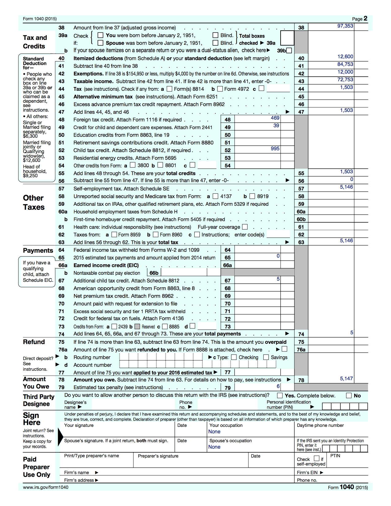 Tax Return Worksheet