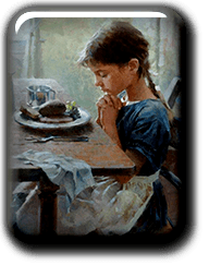 Girl Praying before Meal