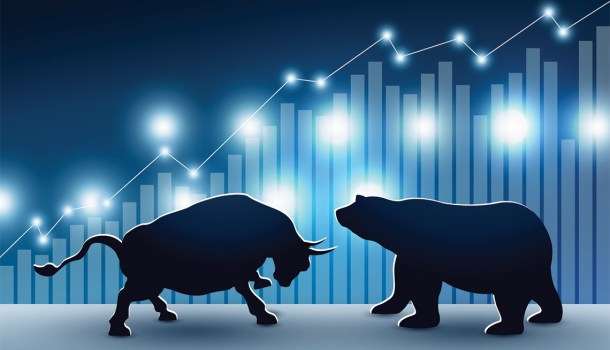 Bull and bear illustration with stock chart