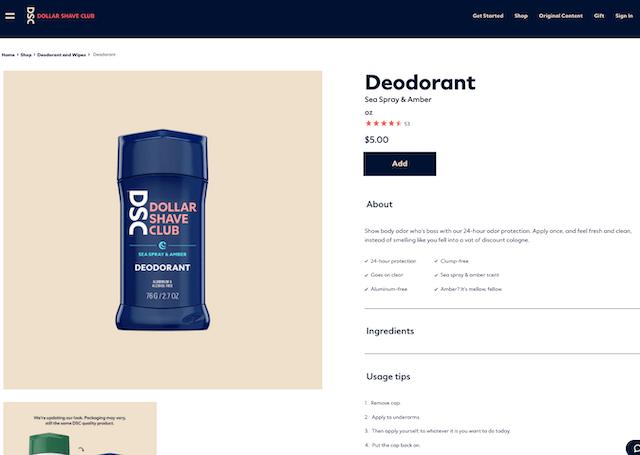 Dollar Shave Club product description for deodorant